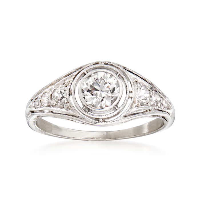 C. 1950 Vintage .60 ct. t.w. Diamond Ring in Platinum. Size 5, , default