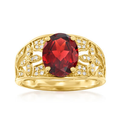 2.70 Carat Garnet and .13 ct. t.w. Diamond Ring in 14kt Yellow Gold