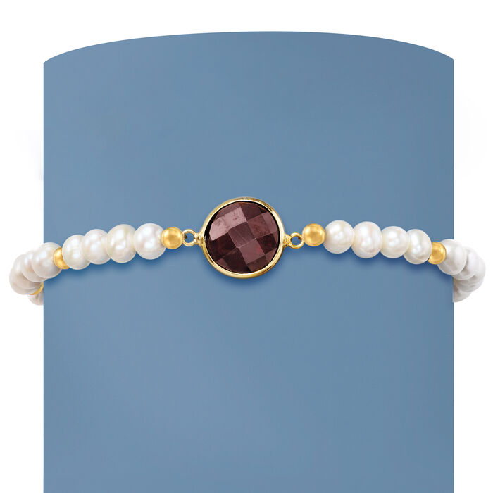 4-5mm Cultured Pearl and 4.00 Carat Garnet Stretch Bracelet in 14kt Yellow Gold