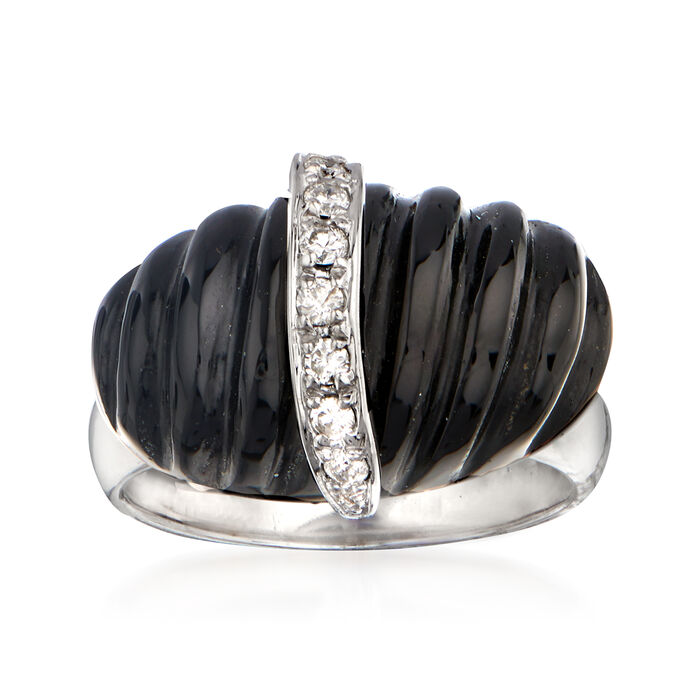 Black Agate and .16 ct. t.w. Diamond Ring in Sterling Silver