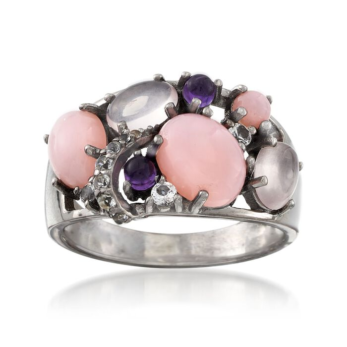 Pink and Purple Multi-Stone Ring with .10 ct. t.w. White Topaz in Sterling Silver. Size 7, , default