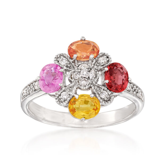 1.60 ct. t.w. Multicolored Sapphire and .15 ct. t.w. Diamond Ring in 14kt White Gold