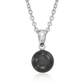"Mikimoto 8-8.5mm Black South Sea Pearl Pendant Necklace in 18kt White Gold. 18"", , default"