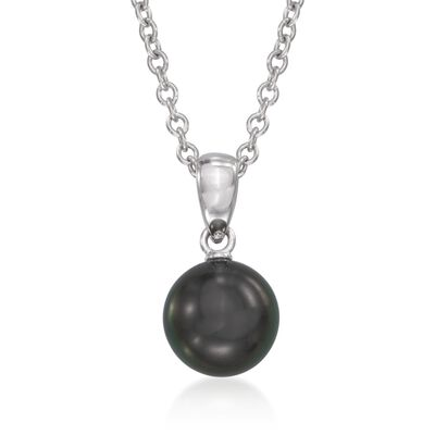 Mikimoto 8-8.5mm Black South Sea Pearl Pendant Necklace in 18kt White Gold, , default
