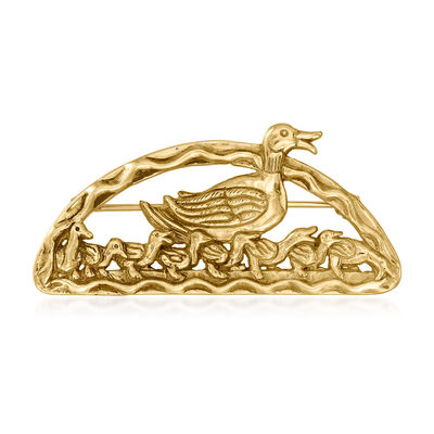 C. 1980 Vintage 14kt Yellow Gold Duck with Ducklings Pin