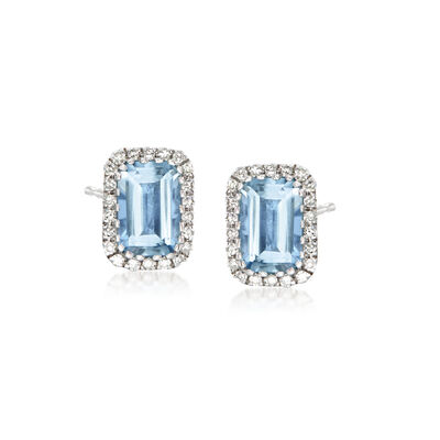 1.00 ct. t.w. Aquamarine and .12 ct. t.w. Diamond Earrings in 14kt White Gold, , default