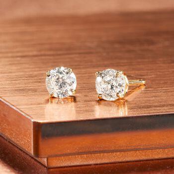 .75 ct. t.w. Diamond Stud Earrings in 14kt Yellow Gold, , default