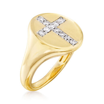 .15 ct. t.w. Diamond Cross Pinky Ring in 14kt Yellow Gold , , default