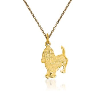 "14kt Yellow Gold Dog Pendant Necklace. 18"", , default"