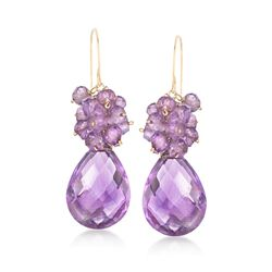 23.75 ct. t.w. Amethyst Cluster Drop Earrings in 14kt Yellow Gold , , default