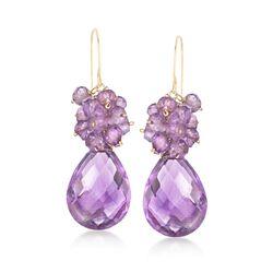 23.75 ct. t.w. Amethyst Cluster Drop Earrings in 14kt Yellow Gold, , default