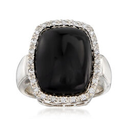 C. 1980 Vintage Black Onyx and .30 ct. t.w. Diamond Ring in 14kt White Gold. Size 7, , default