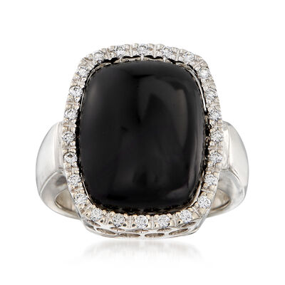 C. 1980 Vintage Black Onyx and .30 ct. t.w. Diamond Ring in 14kt White Gold, , default