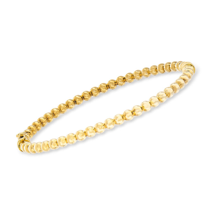 "Italian 3.8mm 14kt Yellow Gold Beaded Bangle Bracelet. 7.5"", , default"