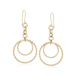 14kt Yellow Gold Double-Circle Drop Earrings, , default