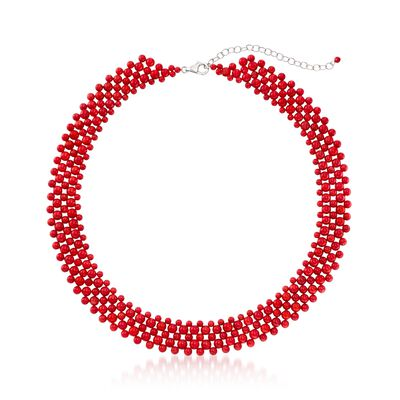 Coral Beaded Collar Necklace in Sterling Silver, , default