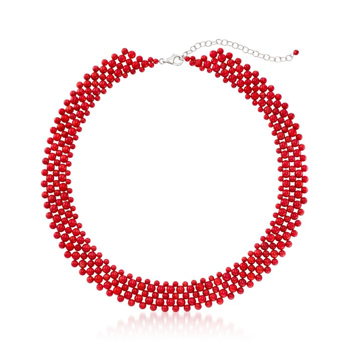 Coral Beaded Collar Necklace in Sterling Silver