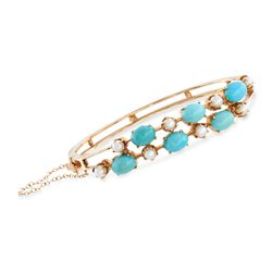 "C. 1950 Vintage 4mm Cultured Pearl and Turquoise Bangle Bracelet in 14kt Yellow Gold. 7"", , default"