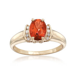 C. 1980 Vintage 1.65 Carat Orange Topaz Ring With Diamond Accents in 10kt Yellow Gold, , default