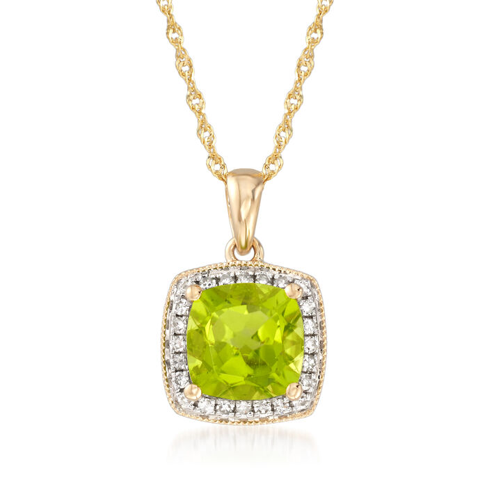 "1.50 Carat Peridot Pendant Necklace with Diamond Accents in 14kt Yellow Gold. 16"", , default"