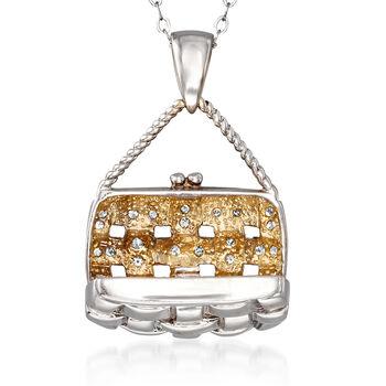 """C. 2000 Vintage .33 ct. t.w. Diamond Purse Pendant Necklace in 14kt White Gold. 18"""", , default"""