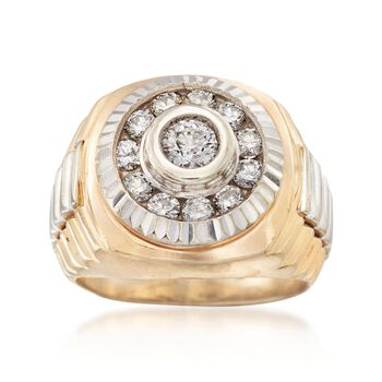 C. 1980 Vintage 1.00 ct. t.w. Diamond Ring in 14kt Two-Tone Gold. Size 7.5, , default