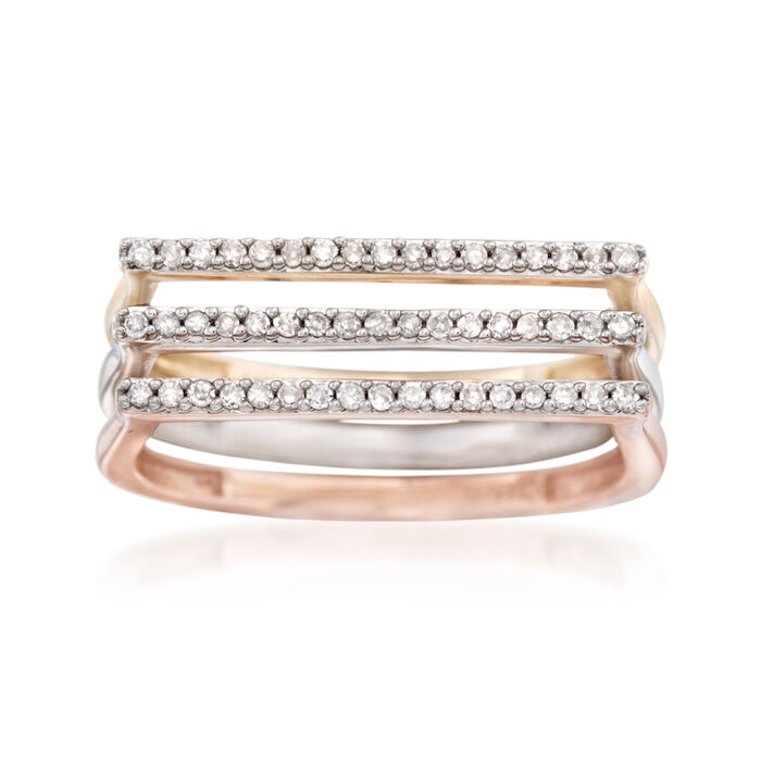 .21 ct. t.w. Diamond Jewelry Set: Three Stackable Bar Rings in 14kt Tri-Colored Gold