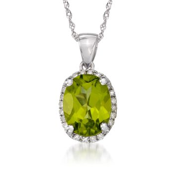 "1.80 Carat Peridot Pendant Necklace With Diamonds in 14kt White Gold. 18"", , default"