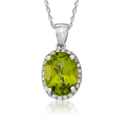 1.80 Carat Peridot Pendant Necklace with Diamonds in 14kt White Gold, , default