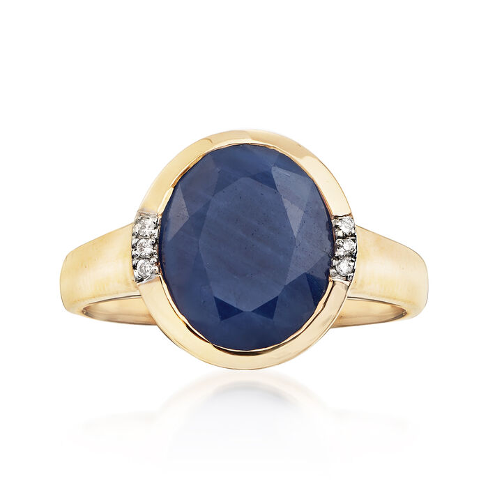 4.50 Carat African Sapphire Ring with Diamond Accents in 14kt Yellow Gold, , default