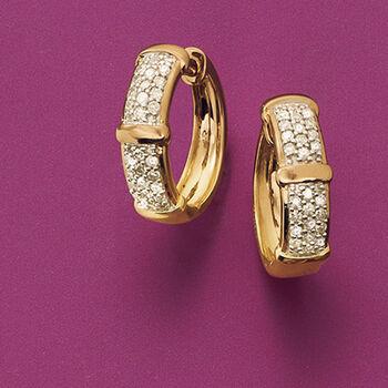 ".33 ct. t.w. Pave Diamond Huggie Hoop Earrings in 14kt Yellow Gold. 1/2"", , default"