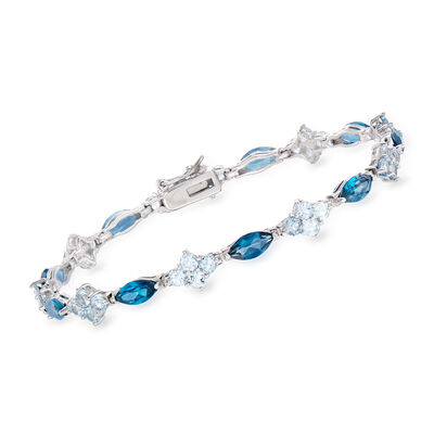 9.35 ct. t.w. London and Sky Blue Topaz Tennis Bracelet in Sterling Silver, , default