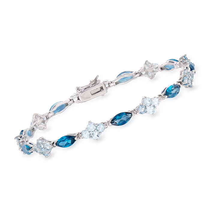 9.35 ct. t.w. London and Sky Blue Topaz Tennis Bracelet in Sterling Silver