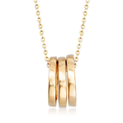 Italian 18kt Yellow Gold Triple Open-Space Circle Necklace, , default
