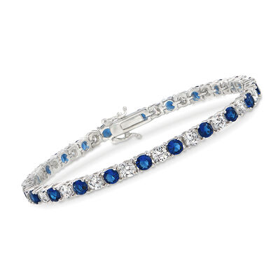 Simulated Sapphire and 5.70 ct. t.w. CZ Tennis Bracelet in Sterling Silver, , default