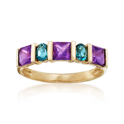 .80 ct. t.w. Amethyst and .30 ct. t.w. London Blue Topaz Ring in 14kt Yellow Gold , , default