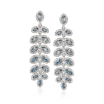 "Swarovski Crystal ""Baron"" Blue and Clear Crystal Leaf Drop Earrings in Silvertone, , default"