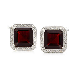 10.00 ct. t.w. Garnet and .19 ct. t.w. Diamond Earrings in Sterling Silver, , default