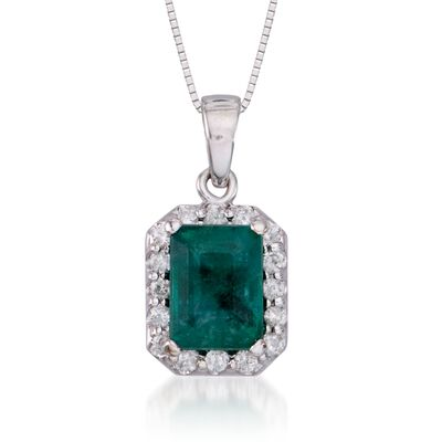 1.70 Carat Emerald and .25 ct. t.w. Diamond Pendant Necklace in 14kt White Gold, , default