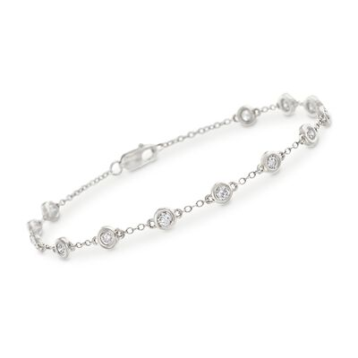 1.00 ct. t.w. Bezel-Set Diamond Station Bracelet in 14kt White Gold, , default