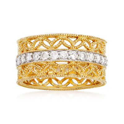 1.00 ct. t.w. Diamond Floral Eternity Band in 18kt Gold Over Sterling