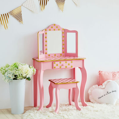 Child's Pink and Gold Polka Dot Gisele Vanity Table and Stool Set with Mirror, , default