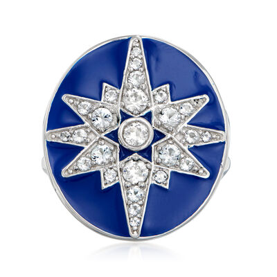1.10 ct. t.w. White Topaz and Blue Enamel Star Ring in Sterling Silver