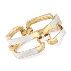 C. 1990 Vintage Italian 18kt Two-Tone Gold Link Bracelet, , default