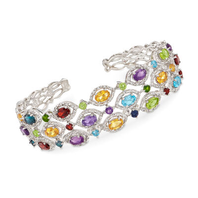 9.30 ct. t.w. Multi-Stone Cuff Bracelet in Sterling Silver, , default
