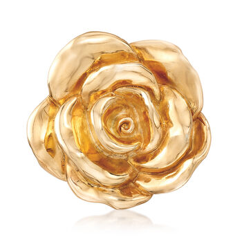 Italian 18kt Yellow Gold Over Sterling Silver Floral Brooch Pin, , default