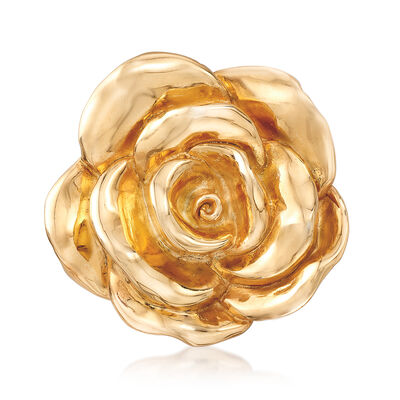 Italian 18kt Yellow Gold Over Sterling Silver Floral Brooch Pin , , default