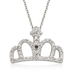 "Roberto Coin ""Tiny Treasures"" .26 ct. t.w. Crown Diamond Necklace in 18kt White Gold, , default"