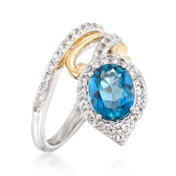 1.90 Carat London Blue Topaz and .60 ct. t.w. White Topaz Ring in Two-Tone Sterling Silver, , default