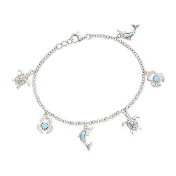 "Larimar Sea Creature Charm Bracelet in Sterling Silver. 7.5"", , default"